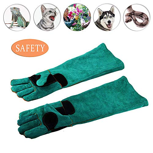 ATROPOS 23.6inch Animal Handling Gloves-Thickened Cowhide Anti-bite/scratch Gloves Protection Gloves, Feed Gloves for Dog Cat Bird Snake Parrot Lizard - Animal Gloves