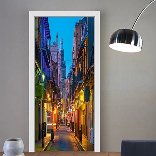 Summer Price custom made 3d Door Wall Mural Wallpaper pubs and bars with neon lights in the french quarter new orleans usa For Room Decor (French Gold Santa)