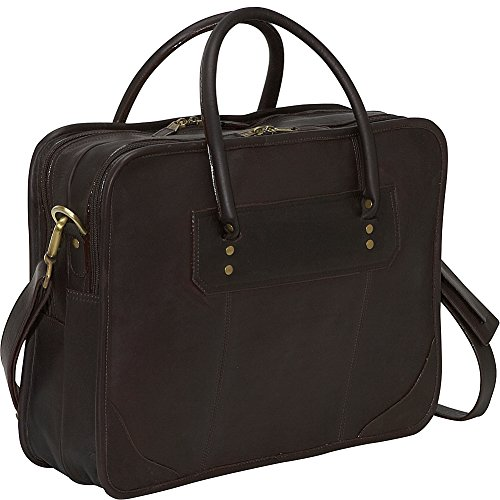 - Clava Leather Top Handle Laptop Briefcase (Vachetta Cafe)