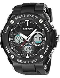 Men's 'Captain' Stylish Outdoor Sport Watch, Real 30M Waterproof EL Backlight Military Time, Quartz Analog and Digital Watches for Men - Black