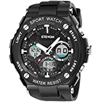 ETEVON Men's 'Captain' Stylish Outdoor Sport Watch with Thicken Silicone Strap - 30m Waterproof - EL Luminous - Multifunction - Dual Time Display - Quartz Analog Digital Wrist Watches for Men - Black