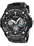 ETEVON Men's 'Captain' Stylish Outdoor Sport Watch with Thicken Silicone Strap – 30m Waterproof – EL Luminous – Multifunction – Dual Time Display – Quartz Analog Digital Wrist Watches for Men – Black Review
