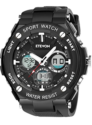 ETEVON Men's 'Captain' Stylish Outdoor Sport Watch with Thicken Silicone Strap - 30m Waterproof - EL Luminous - Multifunction - Dual Time Display - Quartz Analog Digital Wrist Watches for Men - Black -