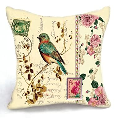 OJIA 18 X 18 Inch Retro Vintage Stamp Style Bird and Blooms Cotton Linen Home Decorative Throw Pillow Cover Cushion Case