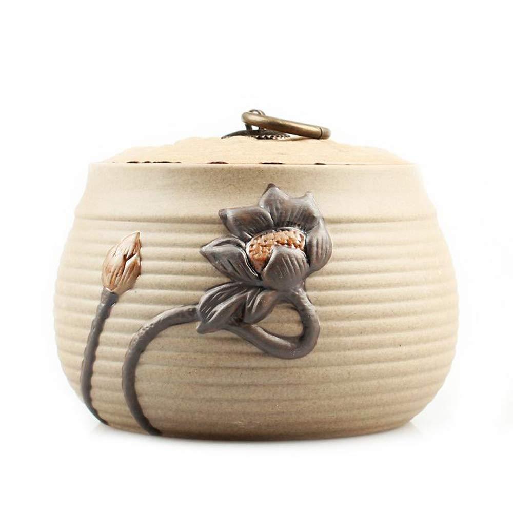 Cremation Urns Ceramics Medium Handmade Coarse Pottery Tea Tank Ceramic Tank Ornament Tank,Onecolor-13.5  10.5cm