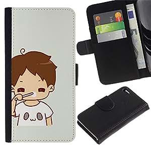 For Apple iPhone 4 / iPhone 4S,S-type® Kid Mom Mother Sweet Baby - Dibujo PU billetera de cuero Funda Case Caso de la piel de la bolsa protectora
