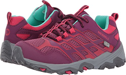 (Merrell Moab Fst Low Waterproof Sneaker (Little Kid/Big Kid), Berry, 11 Medium US Little Kid)
