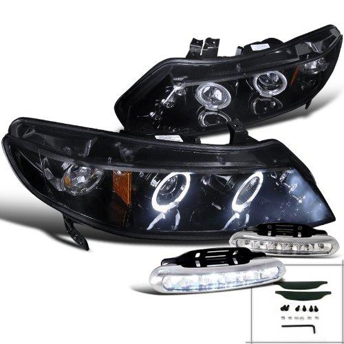 Glossy Black Honda Civic 4Dr Halo Projector Headlights+LED Driving Fog (4dr Halo Led)