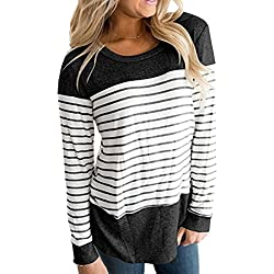 Miskely Women Long Sleeve Round Neck Blouse Color Block Striped Casual Tops T Shirt