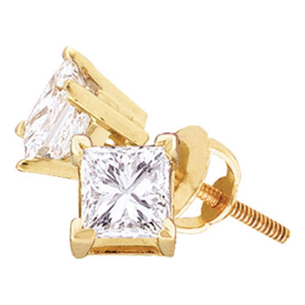 The Diamond Deal 14kt Yellow Gold Unisex Princess Diamond Solitaire Stud Earrings 1//5 Cttw
