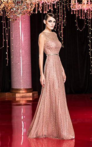 A Beauty See Pink Ausschnitt Emily Boot Linie Through Pailletten Abendkleider SwHq7