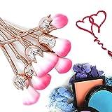 Rose Makeup Brushes Set Professional Kabuki