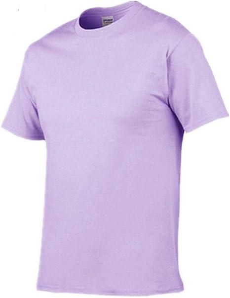 DSHRTY Top de Verano,Verano Nueva Camiseta de Hombre Casual Manga Corta o-Cuello 100% algodón Camiseta Hombre Blanco Negro Camiseta, Orquídea púrpura, S: Amazon.es: Deportes y aire libre