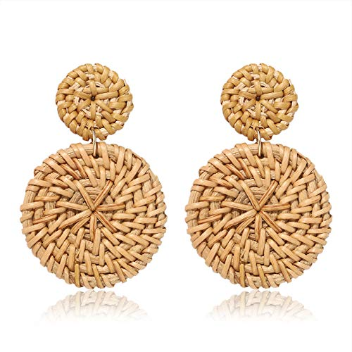 BSJELL Rattan Earrings for Women Straw Braid Wicker Earrings Geometric Double Round Drop Earrings Lightweight Statement Jewelry
