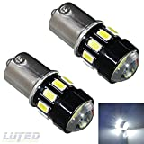 LUYED 2 x 600 Lumens Super Bright Ultra Low Current 1156 5630 16-EX Chipsets 1156 1141 1003 7506 LED Bulbs Used For Back Up Reverse Lights,Brake Lights,Tail Lights,Rv lights,Xenon White