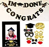 Melojia 2018 Graduation party photo booth props 12 piece & banner & Picture Frame