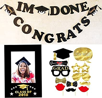 Amazoncom Melojia 2018 Graduation Party Photo Booth Props 12 Piece
