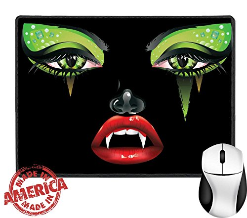 "Female Vampire Makeup (Luxlady Natural Rubber Mouse Pad/Mat with Stitched Edges 9.8"" x 7.9"" IMAGE ID: 37401897 Abstract female vampire face with festival eye makeup and red lips)"