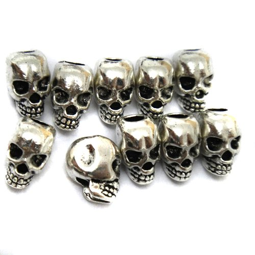 Gusnilo 10pcs Approx Tibet Silver Skull Spacer Beads---Great DIY Accessories for Necklace, Bracelets and Earrings ()