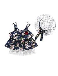 datework 3PCS Newborn Baby Kids Girls Outfits Clothes Floral Vest T-Shirt+Pants+Hat Set