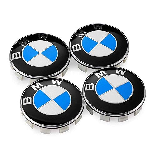 Peake Moear Set of 4 Pieces 68mm Center Wheel Hub Caps for BMW - Applicable to BMW All Models Wheel Center Caps Emblem (Blue White) (Bmw Center Caps)