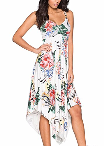 Ruched Sexy Dress Slip (Ruiyige Women's Casual Skater Spaghetti Sexy Summer Printed Strap Ruched Irregular Hem Sleeveless Sun Dress)