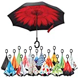 Sharpty Inverted Umbrella, Umbrella Windproof, Reverse Umbrella, Umbrellas for Women with UV Protection, Upside Down Umbrella With C-Shaped Handle (Red Flower) For Sale