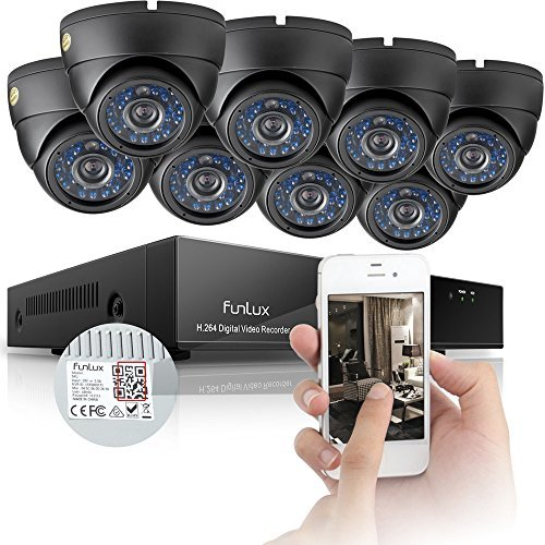 Funlux 8CH 960H Video DVR 8CH 960H Video DVR Surveillance Camera System with Built-in Weatherproof Security and 500GB Hard Drive