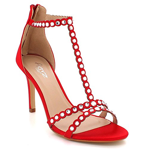 Prom Zip Sandals Wedding Party Red Shoes Ladies Size Womens Fastening LONDON AARZ High Evening Heel Crystal Diamante T8SS1q