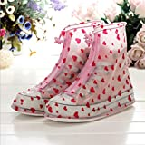 UniEco Waterproof Shoe Covers Rain Shoe Covers Zippered Shoes Red Heart Style for Women XXL