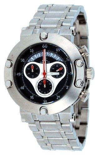 Adee Kaye #AK7130-M Men's Stainless Steel Black Dial 100M Chronograph Sports Watch