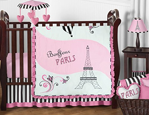 (Pink, Black and White Stripe Paris Baby Girl Bedding 11 Piece French Eifell Tower Crib Set Without)