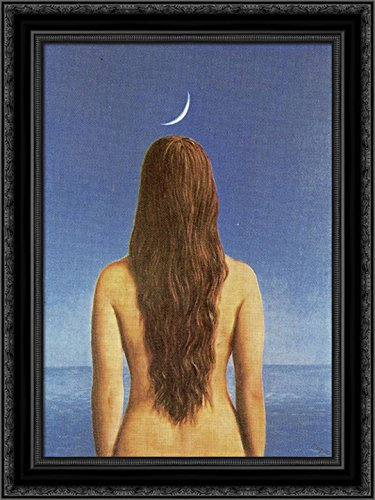 Evening Gown Framed - The evening gown 20x24 Black Ornate Wood Framed Canvas Art by Magritte, Rene