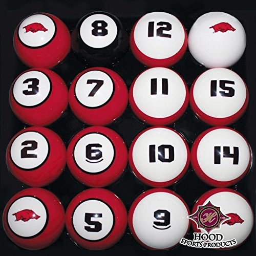 ARKANSAS RAZORBACKS NCAA Collegiate Billiards Pool Balls Sets College HOGS by Southern Game Rooms