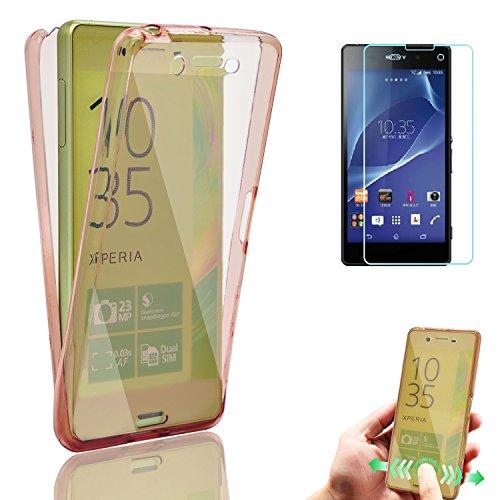 Sony Xperia X Performance Funda, Bonice Case Protectora 360 Grados TPU Cristal Transparente Protección Completa Case Cover Smartphone Accesorio + Screen Protector - Blanco Rosa oscuro