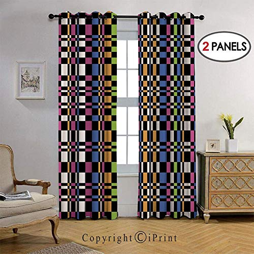 RWNFA Fashion Design Pattern Geometric Optical Artwork Psychedelic Striped Mosaic Thermal Insulated Blackout Curtain with Grommet Tops for Bedroom, 36 by108 inch, 2 Panel,Multicolor