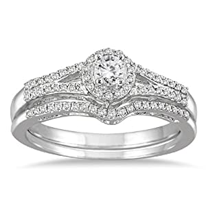 AGS Certified 1/3 Carat TW Diamond Halo Bridal Set in 10K White Gold