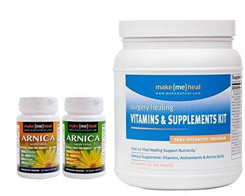 MakeMeHeal Post-Operative Supplements, Vitamins & Arnica Montana Swelling & Bruising Kit (3 Bottles)