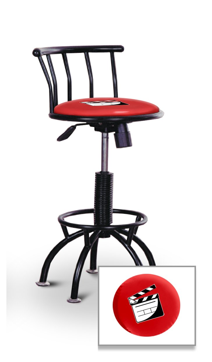 New Adjustable 24'' to 29'' Tall Black Metal Bar Stools Features a Movie Film Clapper Theme with Your Choice of Seat Color Vinyl!