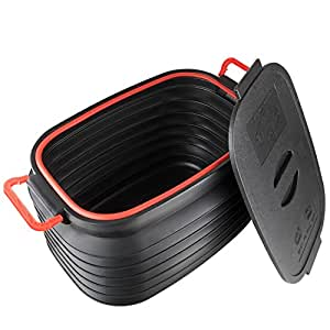 CUH Portable Collapsible Trunk Organizer Eco-friendly Plastic Car Box Storage Bin with Lid for Cars Outdoor Camping Fishing, 37L