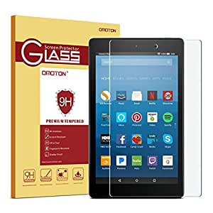 OMOTON All-New Fire HD 8 Screen Protector (2017 Release) Tempered Glass Screen Protector for All-New Fire HD 8 Tablet (2017 Release) and Fire HD 8 (2016 Release)