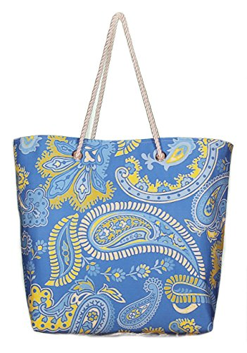 Norma Jean Blue Paisley Cabana Beach & Everyday Tote Grommets & Rope Handles