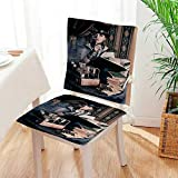 Mikihome Chair Cushion Portrait of Steampunk Woman with Style Outfit Historic Art 2 Piece Set Office Chair Car Seat Cushion Mat:W17 x H17/Backrest:W17 x H36
