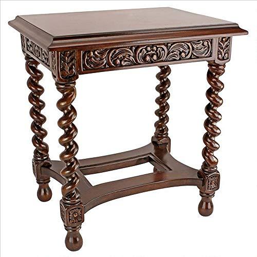 Twist Barley Carved - MAREEYA SHOP Artisian Gothic Era Solid Mahogany Antique Replica Side End Table New