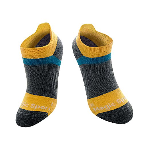 Compression Running Socks, Reinforced Arch Support, pressure dispersing heal, enhanced stability of ankles, Ideal for running, cycling, any type of sports,Yellow,M-L - Men 6-8/ Women 5-9