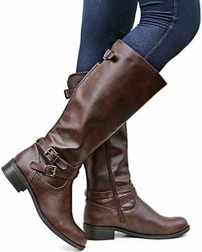66383cb11d7 Huiyuzhi Womens Side Zipper Buckles Knee High Riding Boots Wide Calf Chunky  Heel Boots