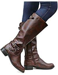 Womens Wide Calf Riding Boots Knee High Buckle Strappy...