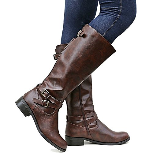 Ermonn Womens Wide Calf Riding Boots Knee High Buckle Strappy Winter Chunky Combat Boots