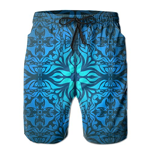 Men's Blue Vintage Patterns Fashion Bathing Suits Quick Dry Beach Shorts (Mens Vintage Bathing Suit)