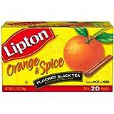 Lipton Flavored Black Tea, Orange & Spice, Tea Bags, 20-Count Boxes (Pack of 6)